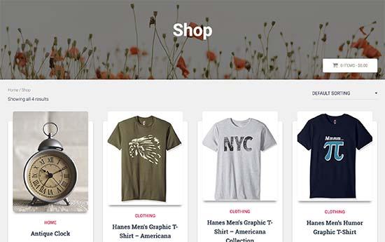 Página de la tienda