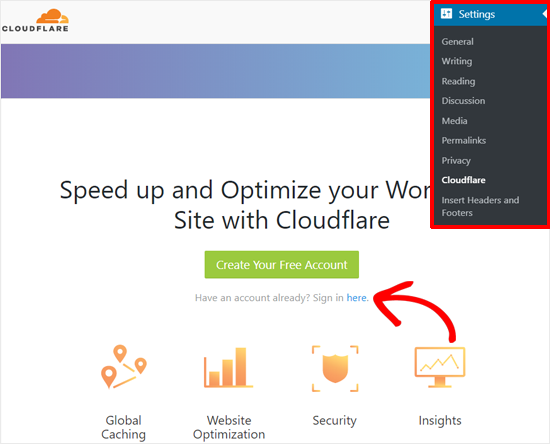 Entre na conta Cloudflare com WordPress