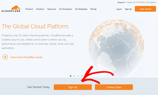 Registre-se no site Cloudflare
