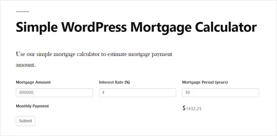 Vista previa simple de la calculadora de hipotecas de WordPress