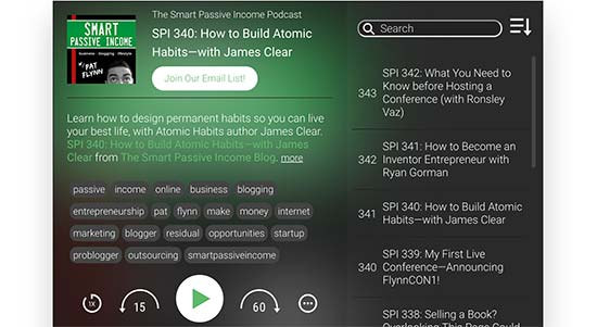 Vista previa de Smart Podcast Player