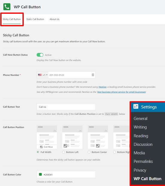 Configuración del botón de llamada fija en WordPress