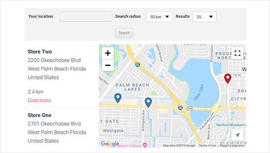 Vista previa del mapa del localizador de tiendas