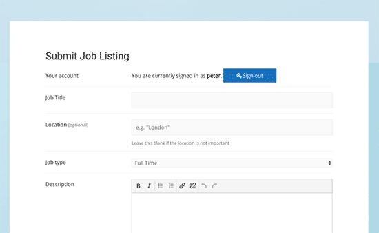 Enviar página de listado de trabajo