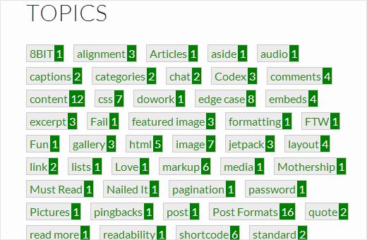 Mostrar etiquetas con recuento de publicaciones en WordPress