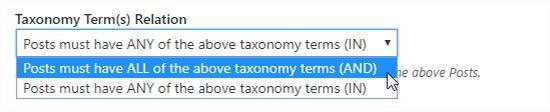 Relación de término de taxonomía