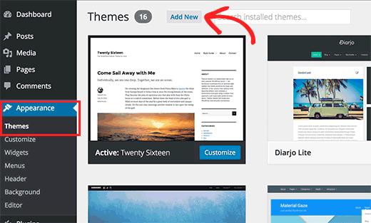 WordPress admin bölgəsindəki mövzular səhifəsi