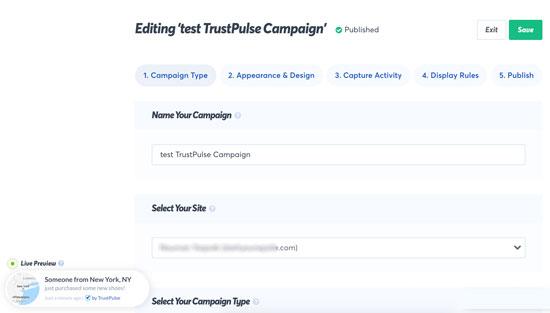 Crear una campaña emergente en TrustPulse