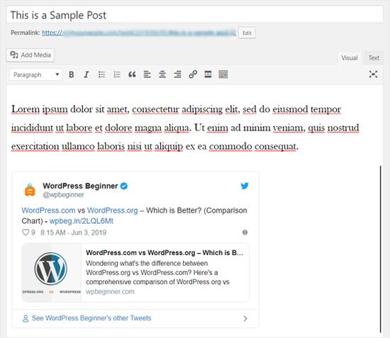 Tweet integrado en el editor clásico de WordPress