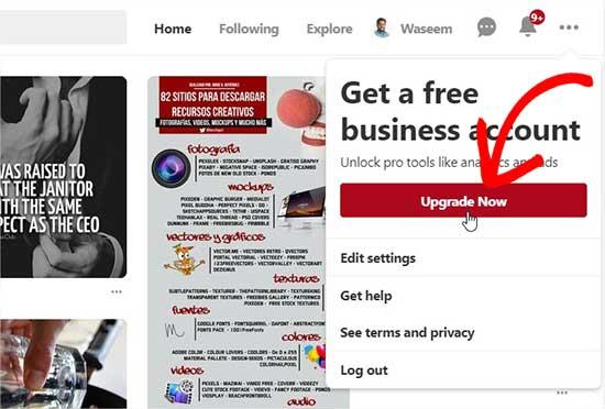 Nâng cấp lên Pinterest Tài khoản doanh nghiệp