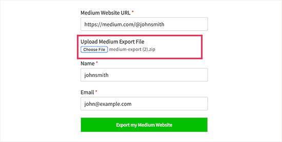 Sube tu archivo de exportación medio
