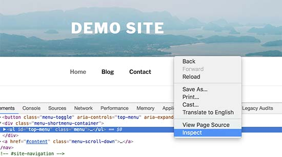 Usando la herramienta de inspección para buscar clases de CSS para modificar