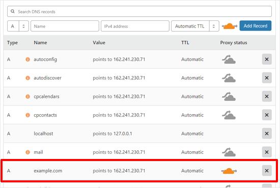 Cloudflare'nı konfiqurasiya etmək üçün DNS qeydlərini yoxlayın