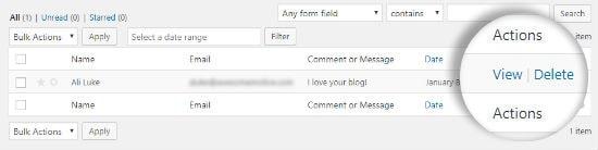 El enlace Ver, indicado por una flecha roja, en el que hace clic para ver los detalles de entrada del formulario de contacto