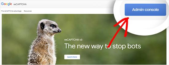 Visite o site do Google reCAPTCHA
