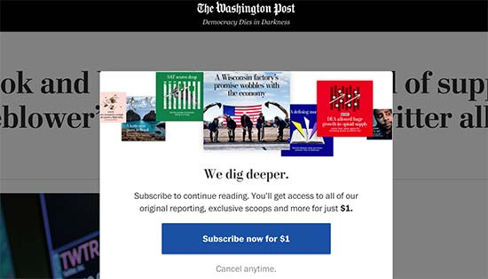 Paywall auf der Website der Washington Post