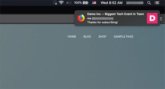 Firefox vasitəsi ilə Mac-da göstərilən salamlama bildirişi