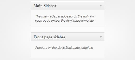 Sidebars mới được tạo xuất hiện trên màn hình widget
