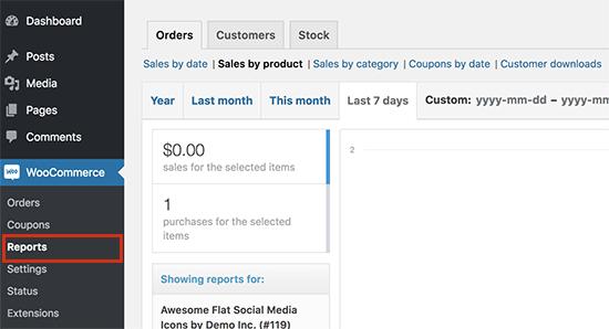 Ver informes de descarga en WooCommerce
