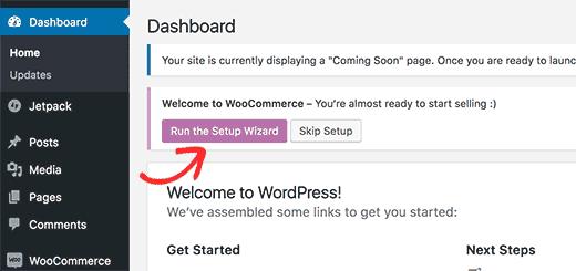Ejecute el asistente de configuración de WooCommerce