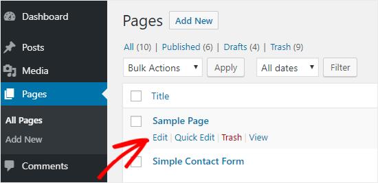 Opción de edición de página de WordPress