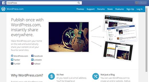 Página de destino para la aplicación de WordPress.com