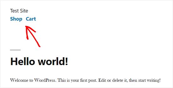 Demostración del menú principal de WordPress