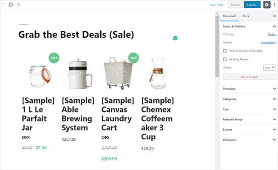 Lista de productos de BigCommerce en publicación de WordPress