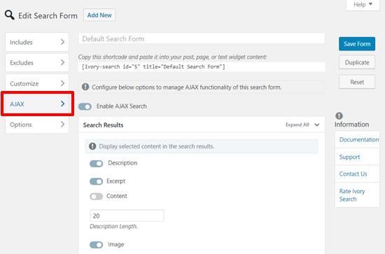 Configuración de AJAX de la barra de búsqueda de WordPress de marfil