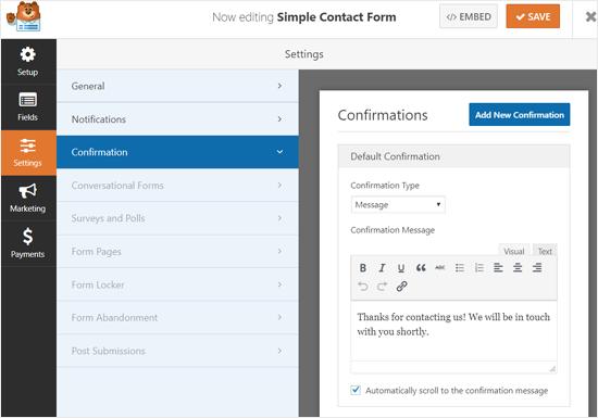 Configurações da mensagem de confirmação WPForms