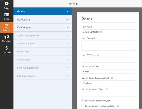 Configurações gerais do WPForms