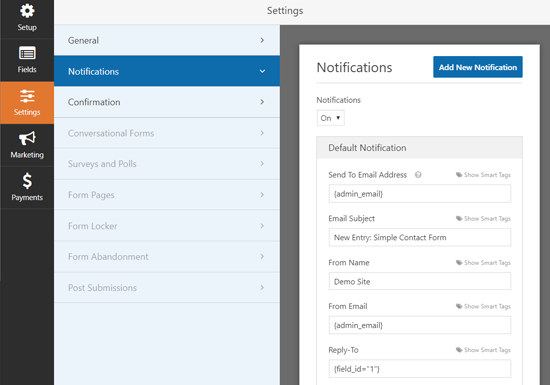 Configurações de notificação WPForms