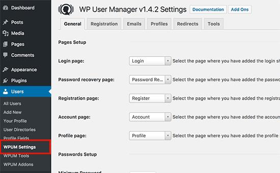 Página de configuración de WP User Manager