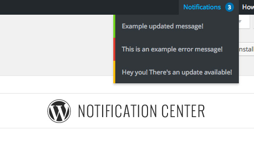 Centro de notificaciones de WordPress
