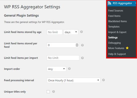 Configuración del agregador RSS de WP