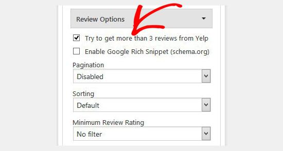Configuración de revisión de Yelp