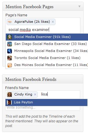 đề cập đến bạn bè hoặc trang facebook