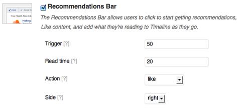 configuración de la barra de recomendaciones