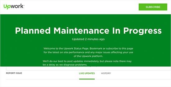 Trang bảo trì Upwork với cập nhật trạng thái