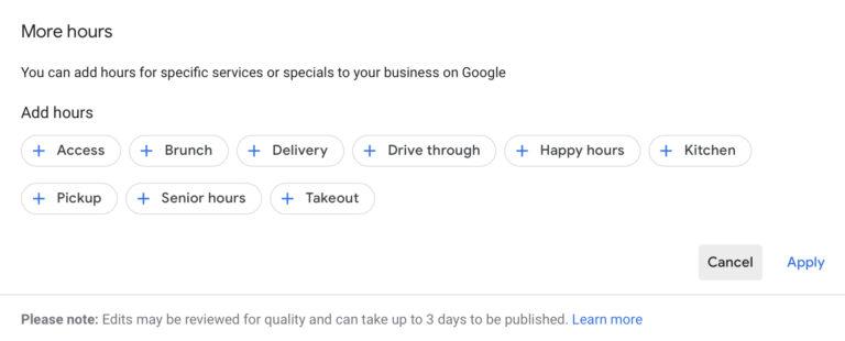 Actualización de Google My Business: agregue más horas para servicios específicos
