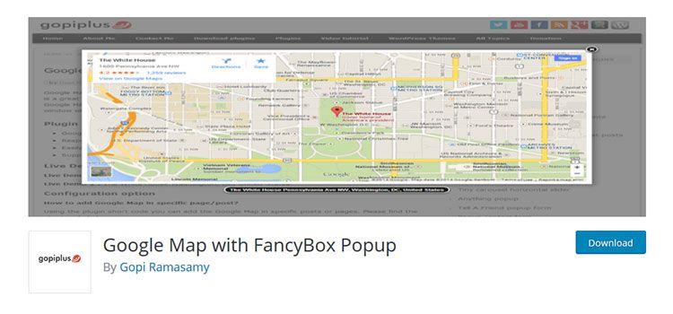 Mapa Google s kontextovým oknom FancyBox