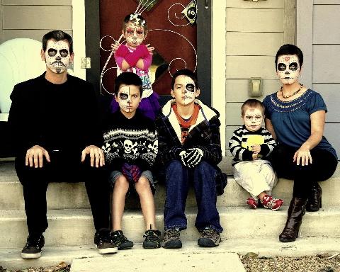retrato familiar de halloween