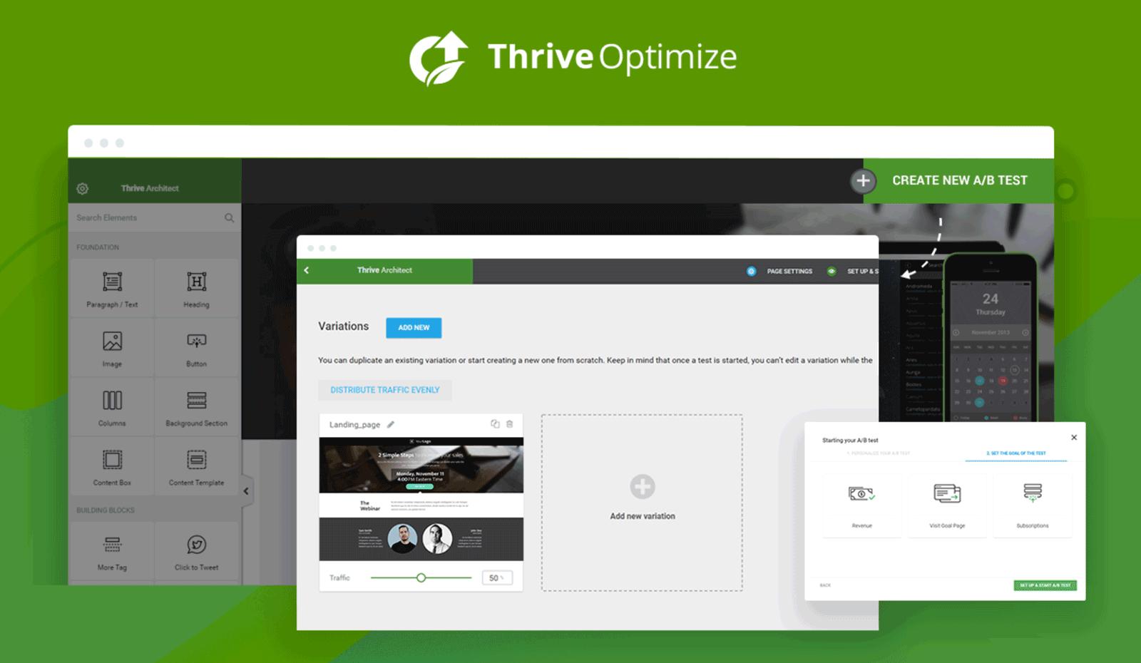 Interfaz de usuario de Thrive Optimize
