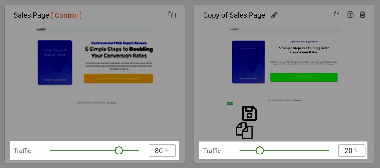 Distribuir tráfico entre variantes