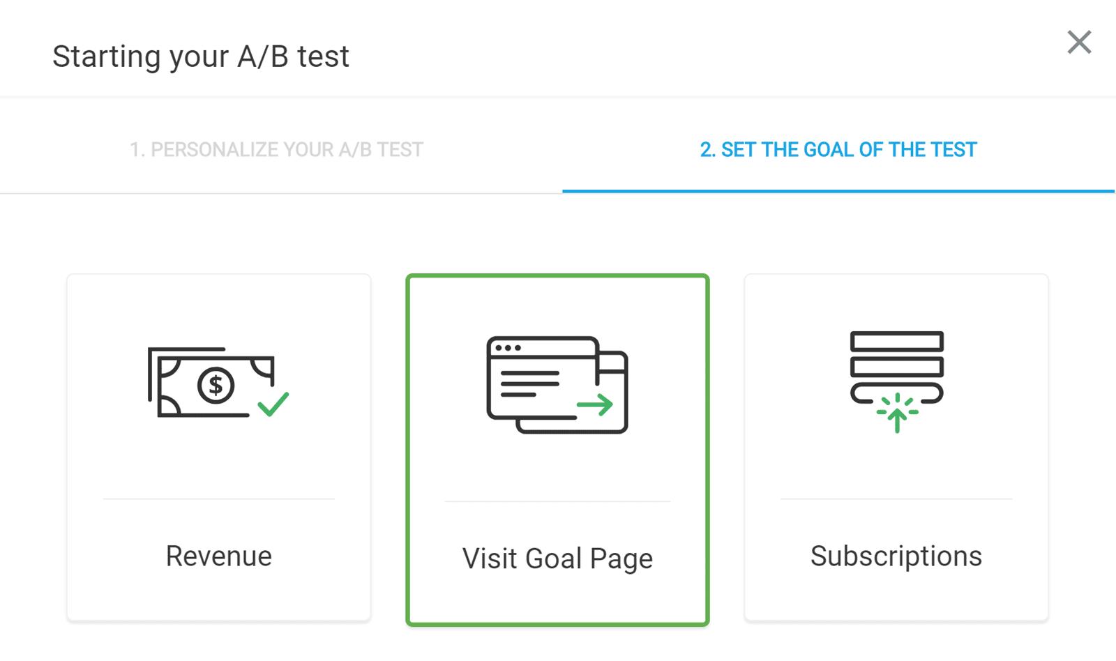 Elija un objetivo para la prueba