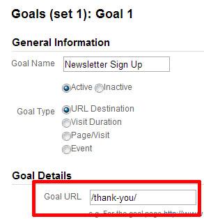 gracias URL del objetivo de la página
