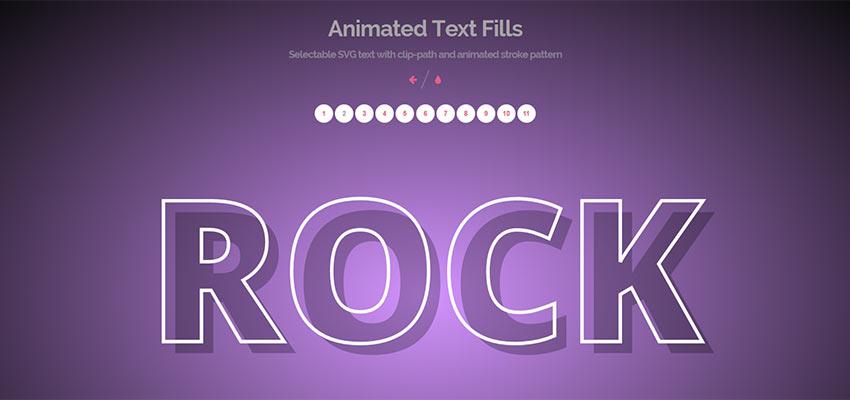 Textové výplne animované programom Tympanus