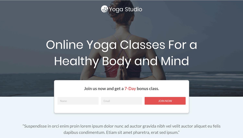 Página de inicio de plantilla de yoga