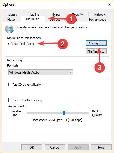 cambiar la ubicación predeterminada de extracción de Windows, el reproductor multimedia no puede encontrar el archivo