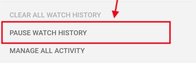 Pausar el historial de reproducciones activas de YouTube
